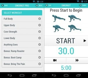 Sworkit Fitness App offers circuit training in periods ranging from five to 60 minutes. Photo Credit: http://soletron.com/