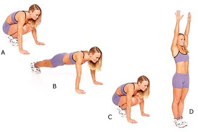 Burpees can be carried out anywhere that has a wide space that is enough to cater your body.  Photo Credit: www.fit4lifesisters.net